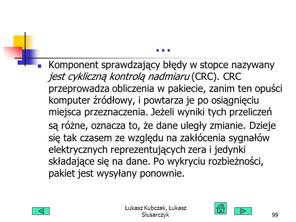 Łukasz Kubczak, Łukasz Slusarczyk99... Komponent sprawdzający błędy w stopce nazywany jest cykliczną kontrolą nadmiaru (CRC). CRC przeprowadza oblicze