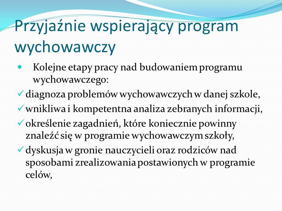 Przyjaźnie wspierający program wychowawczy Kolejne etapy pracy nad budowaniem programu wychowawczego: diagnoza problemów wychowawczych w danej szkole,