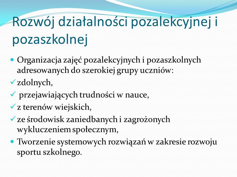 Rozwój działalności pozalekcyjnej i pozaszkolnej Organizacja zajęć pozalekcyjnych i pozaszkolnych adresowanych do szerokiej grupy uczniów: zdolnych, p