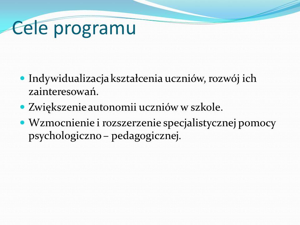 Cele programu Indywidualizacja kształcenia uczniów, rozwój ich zainteresowań. Zwiększenie autonomii uczniów w szkole. Wzmocnienie i rozszerzenie specj
