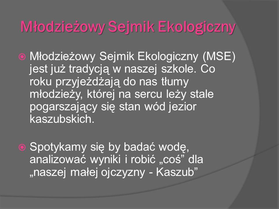 Młodzieżowy Sejmik Ekologiczny Młodzieżowy Sejmik Ekologiczny (MSE) jest już tradycją w naszej szkole. Co roku przyjeżdżają do nas tłumy młodzieży, kt
