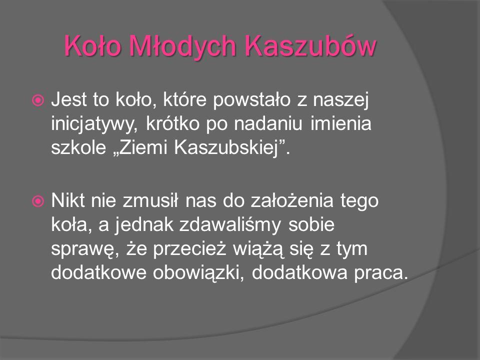 Koło Młodych Kaszubów Jest to koło, które powstało z naszej inicjatywy, krótko po nadaniu imienia szkole Ziemi Kaszubskiej. Nikt nie zmusił nas do zał