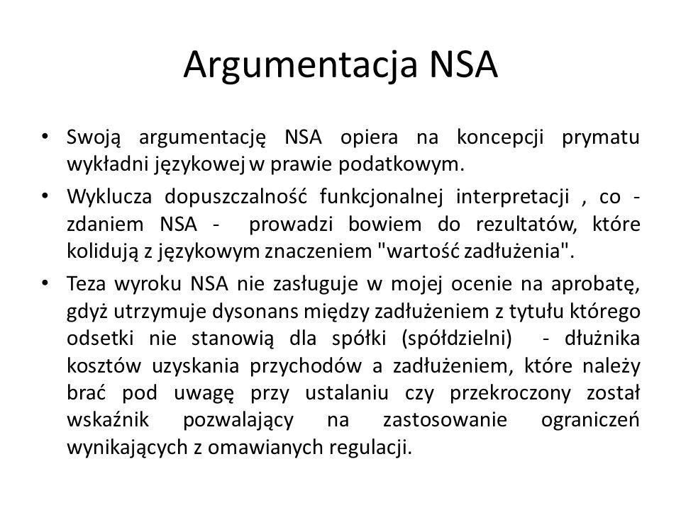 Argumentacja NSA Swoją argumentację NSA opiera na koncepcji prymatu wykładni językowej w prawie podatkowym. Wyklucza dopuszczalność funkcjonalnej inte