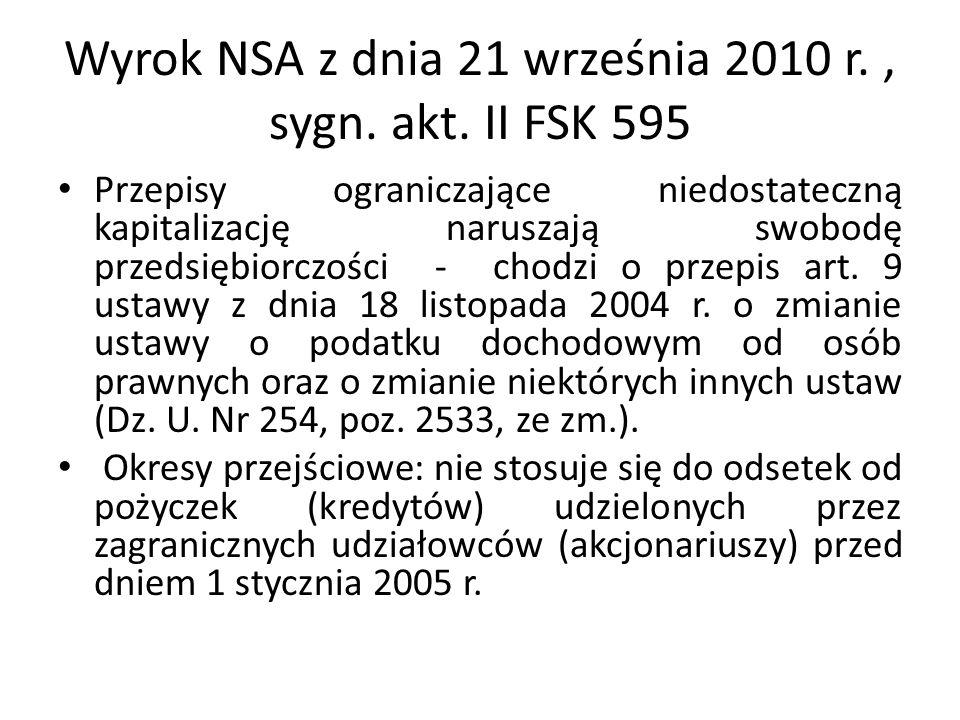 Wyrok NSA z dnia 21 września 2010 r., sygn. akt. II FSK 595 Przepisy ograniczające niedostateczną kapitalizację naruszają swobodę przedsiębiorczości -