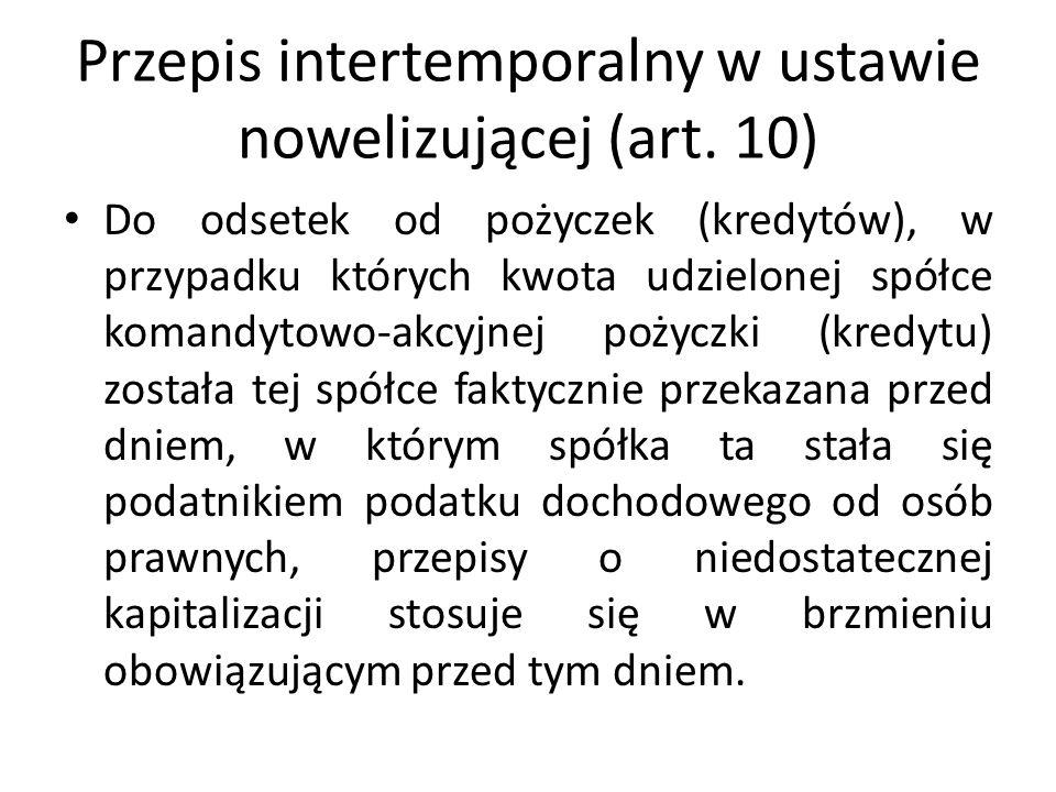 Przepis intertemporalny w ustawie nowelizującej (art. 10) Do odsetek od pożyczek (kredytów), w przypadku których kwota udzielonej spółce komandytowo-a