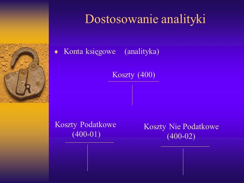 Dostosowanie analityki Konta księgowe (analityka) Koszty (400) Koszty Podatkowe (400-01) Koszty Nie Podatkowe (400-02)