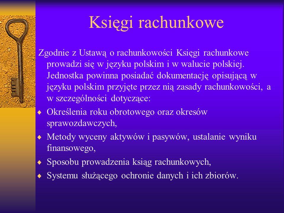 Księgi rachunkowe Zgodnie z Ustawą o rachunkowości Księgi rachunkowe prowadzi się w języku polskim i w walucie polskiej.