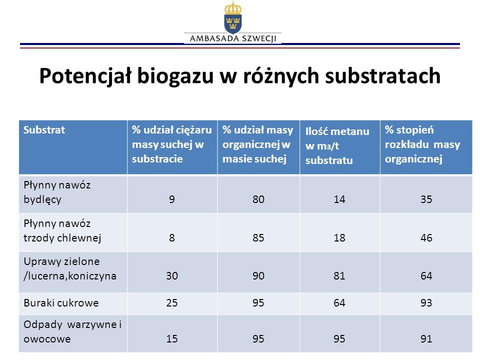 Potencjał biogazu w różnych substratach Substrat% udział ciężaru masy suchej w substracie % udział masy organicznej w masie suchej Ilość metanu w m 3