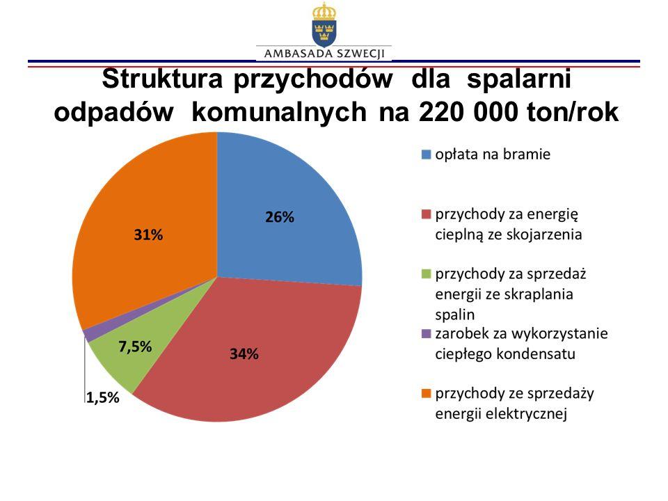 Struktura przychodów dla spalarni odpadów komunalnych na 220 000 ton/rok