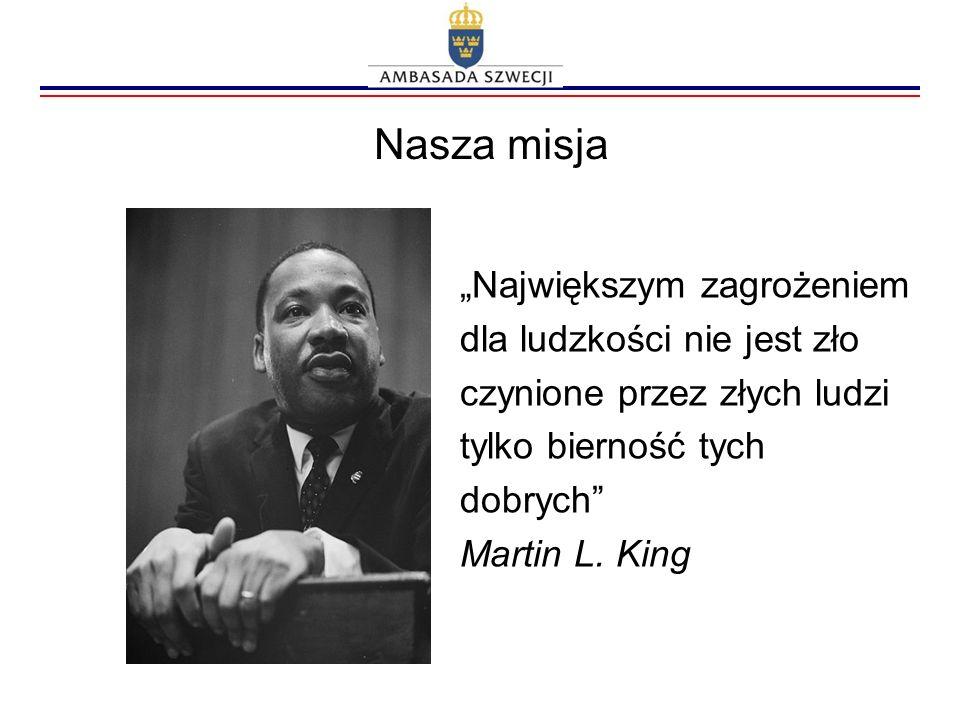 Nasza misja Największym zagrożeniem dla ludzkości nie jest zło czynione przez złych ludzi tylko bierność tych dobrych Martin L. King