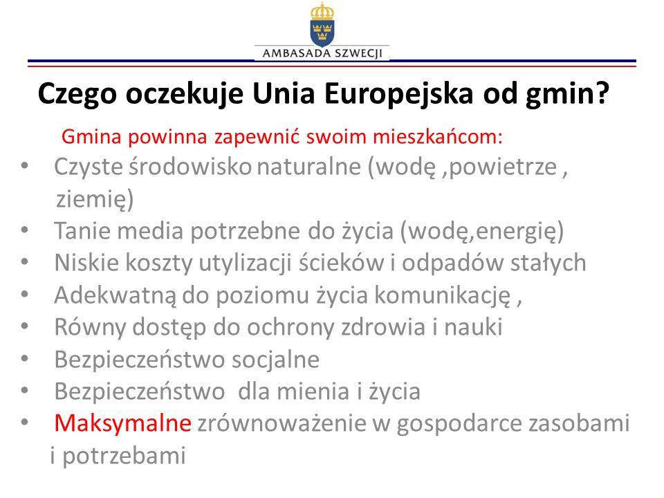 Czego oczekuje Unia Europejska od gmin? Gmina powinna zapewnić swoim mieszkańcom: Czyste środowisko naturalne (wodę,powietrze, ziemię) Tanie media pot