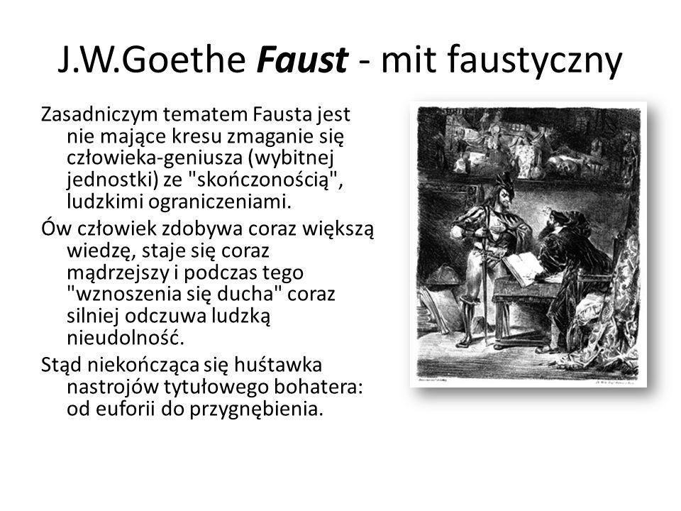 J.W.Goethe Faust - mit faustyczny Zasadniczym tematem Fausta jest nie mające kresu zmaganie się człowieka-geniusza (wybitnej jednostki) ze