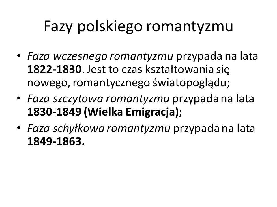 Fazy polskiego romantyzmu Faza wczesnego romantyzmu przypada na lata 1822-1830. Jest to czas kształtowania się nowego, romantycznego światopoglądu; Fa