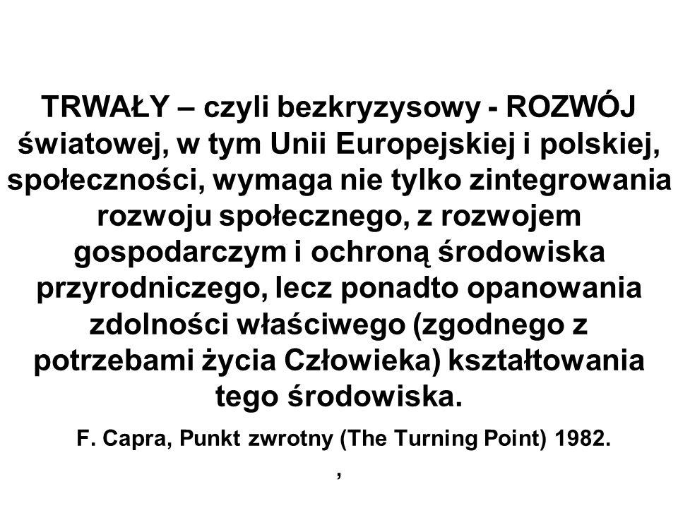 TRWAŁY – czyli bezkryzysowy - ROZWÓJ światowej, w tym Unii Europejskiej i polskiej, społeczności, wymaga nie tylko zintegrowania rozwoju społecznego,