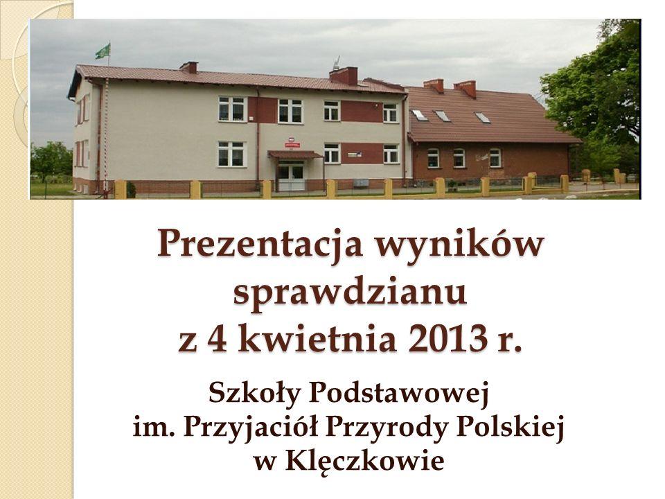 Prezentacja wyników sprawdzianu z 4 kwietnia 2013 r. Szkoły Podstawowej im. Przyjaciół Przyrody Polskiej w Klęczkowie