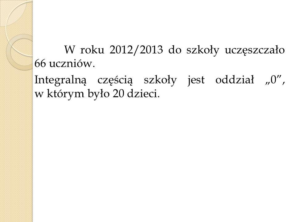 W roku 2012/2013 do szkoły uczęszczało 66 uczniów. Integralną częścią szkoły jest oddział 0, w którym było 20 dzieci.