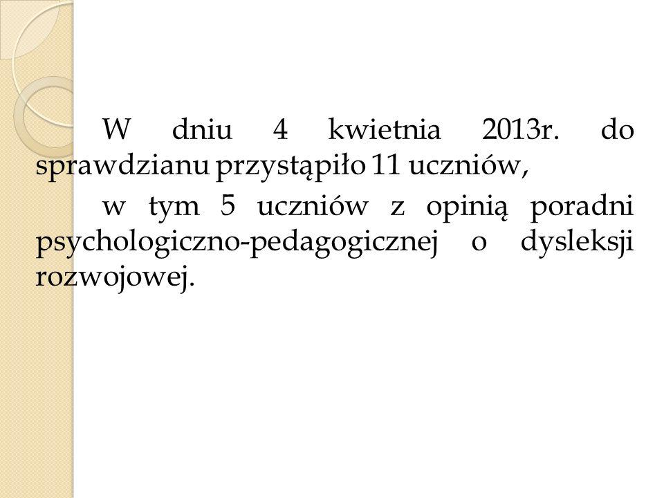 W dniu 4 kwietnia 2013r. do sprawdzianu przystąpiło 11 uczniów, w tym 5 uczniów z opinią poradni psychologiczno-pedagogicznej o dysleksji rozwojowej.