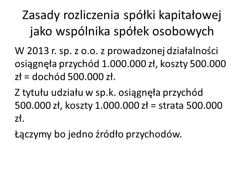 Zasady rozliczenia spółki kapitałowej jako wspólnika spółek osobowych W 2013 r. sp. z o.o. z prowadzonej działalności osiągnęła przychód 1.000.000 zł,