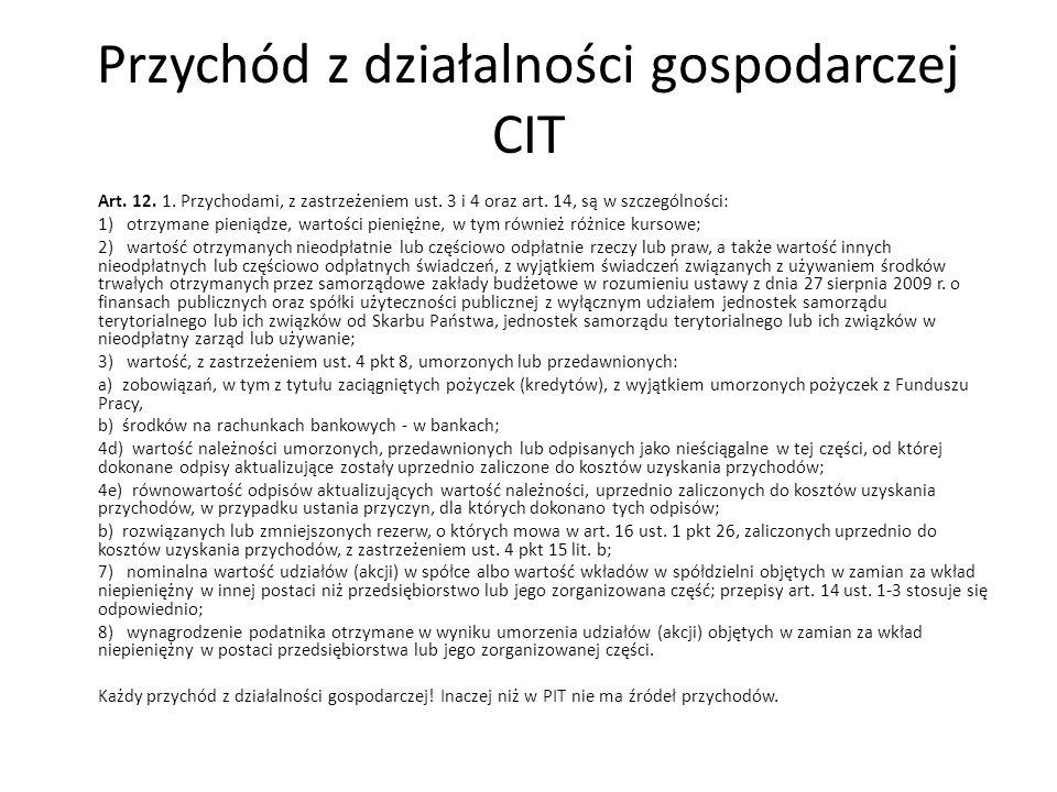 Przychód z działalności gospodarczej CIT Art. 12. 1. Przychodami, z zastrzeżeniem ust. 3 i 4 oraz art. 14, są w szczególności: 1) otrzymane pieniądze,
