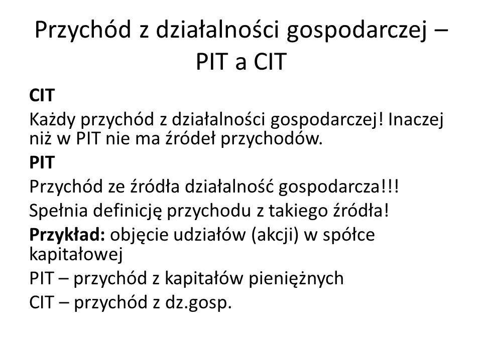 Przychód z działalności gospodarczej – PIT a CIT CIT Każdy przychód z działalności gospodarczej! Inaczej niż w PIT nie ma źródeł przychodów. PIT Przyc