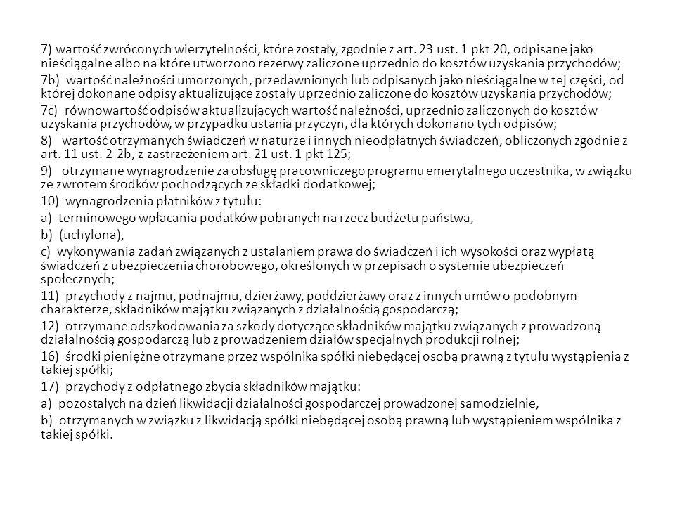 7) wartość zwróconych wierzytelności, które zostały, zgodnie z art. 23 ust. 1 pkt 20, odpisane jako nieściągalne albo na które utworzono rezerwy zalic