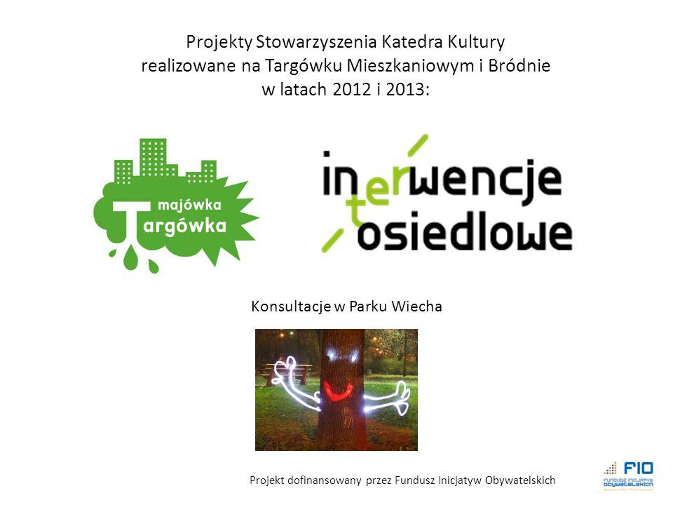 Projekt dofinansowany przez Fundusz Inicjatyw Obywatelskich Projekty Stowarzyszenia Katedra Kultury realizowane na Targówku Mieszkaniowym i Bródnie w latach 2012 i 2013: Konsultacje w Parku Wiecha