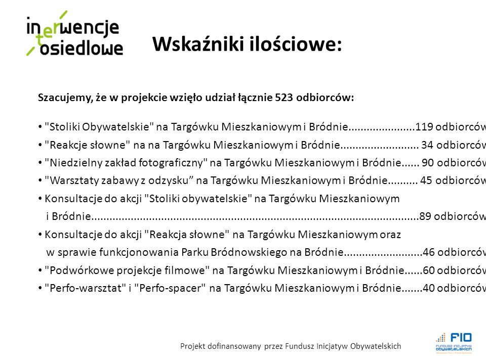 Szacujemy, że w projekcie wzięło udział łącznie 523 odbiorców: Stoliki Obywatelskie na Targówku Mieszkaniowym i Bródnie......................119 odbiorców Reakcje słowne na na Targówku Mieszkaniowym i Bródnie..........................
