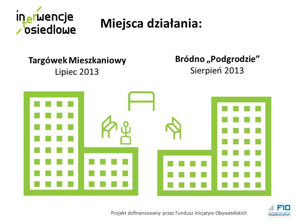 Targówek Mieszkaniowy Lipiec 2013 Bródno Podgrodzie Sierpień 2013 Miejsca działania: Projekt dofinansowany przez Fundusz Inicjatyw Obywatelskich