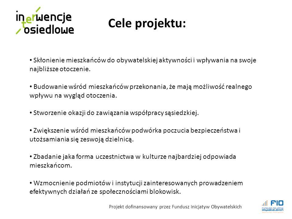 Cele projektu: Skłonienie mieszkańców do obywatelskiej aktywności i wpływania na swoje najbliższe otoczenie.