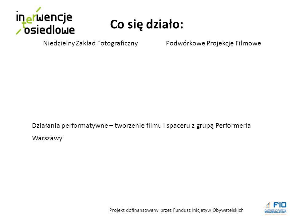 Co się działo: Projekt dofinansowany przez Fundusz Inicjatyw Obywatelskich Niedzielny Zakład FotograficznyPodwórkowe Projekcje Filmowe Działania performatywne – tworzenie filmu i spaceru z grupą Performeria Warszawy