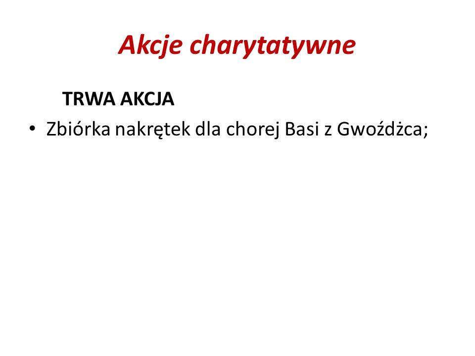 Akcje charytatywne TRWA AKCJA Zbiórka nakrętek dla chorej Basi z Gwoźdżca;