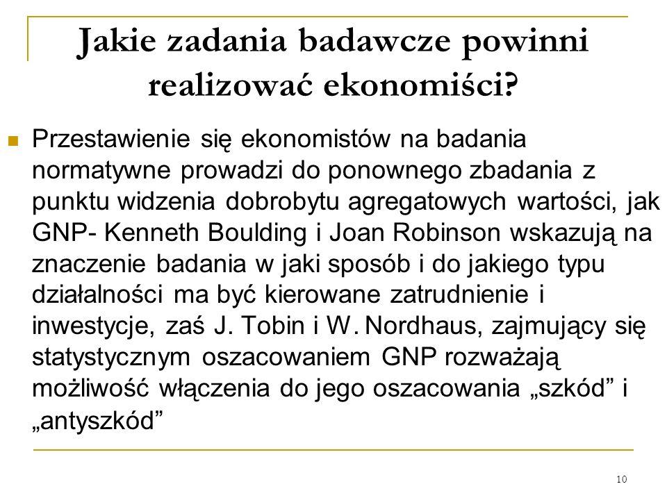 10 Jakie zadania badawcze powinni realizować ekonomiści? Przestawienie się ekonomistów na badania normatywne prowadzi do ponownego zbadania z punktu w