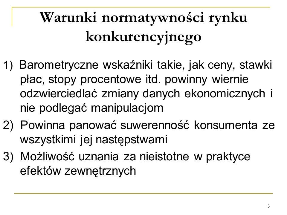 3 Warunki normatywności rynku konkurencyjnego 1) Barometryczne wskaźniki takie, jak ceny, stawki płac, stopy procentowe itd. powinny wiernie odzwierci