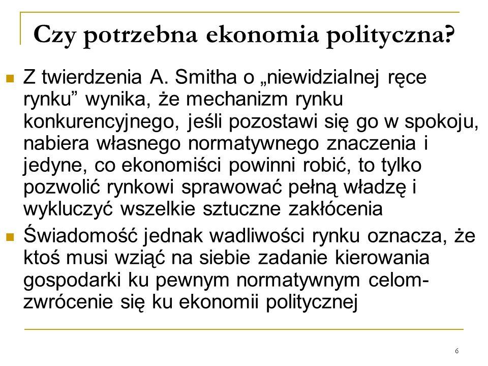 6 Czy potrzebna ekonomia polityczna? Z twierdzenia A. Smitha o niewidzialnej ręce rynku wynika, że mechanizm rynku konkurencyjnego, jeśli pozostawi si