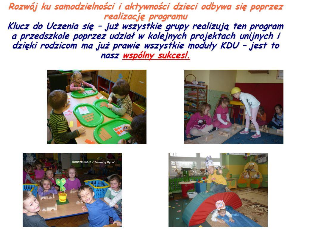 Rozwój ku samodzielności i aktywności dzieci odbywa się poprzez realizację programu Klucz do Uczenia się – już wszystkie grupy realizują ten program a przedszkole poprzez udział w kolejnych projektach unijnych i dzięki rodzicom ma już prawie wszystkie moduły KDU – jest to nasz wspólny sukces!.