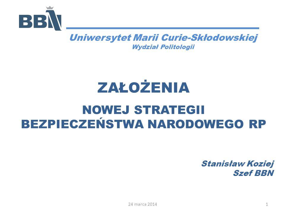 AGENDA 1.Podstawy nowelizacji SBN 2.Kompleksowe i zintegrowane podej- ście do bezpieczeństwa 3.Zagrożenia i wyzwania w dziedzinie bezpieczeństwa 4.Doktryna i priorytety strategiczne w dziedzinie bezpieczeństwa 5.Podsumowanie 2