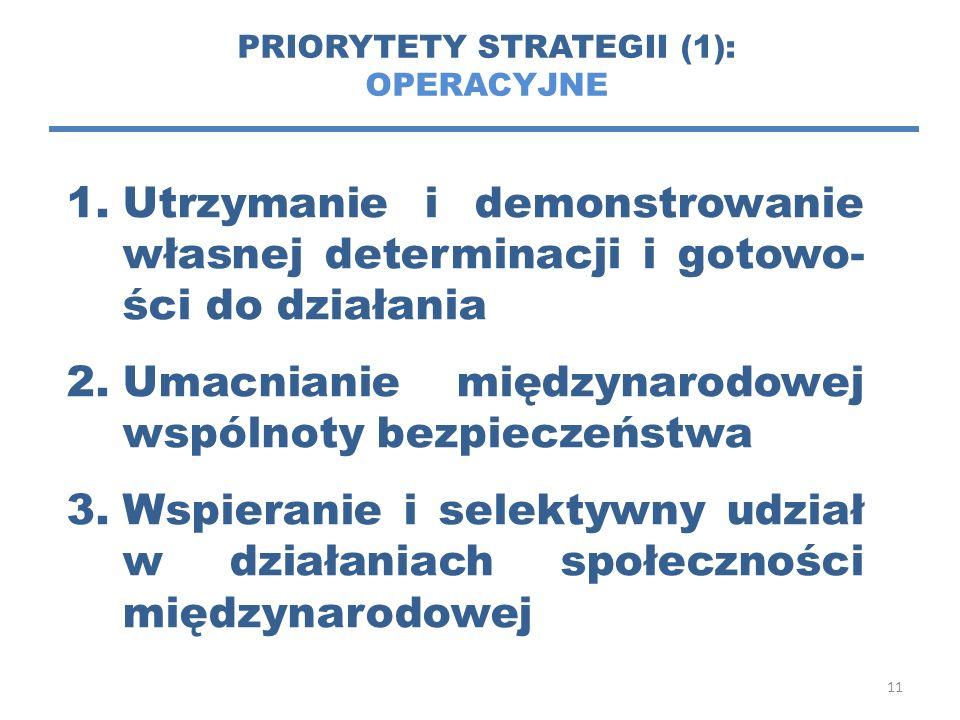 11 PRIORYTETY STRATEGII (1): OPERACYJNE 1.Utrzymanie i demonstrowanie własnej determinacji i gotowo- ści do działania 2.Umacnianie międzynarodowej wspólnoty bezpieczeństwa 3.Wspieranie i selektywny udział w działaniach społeczności międzynarodowej