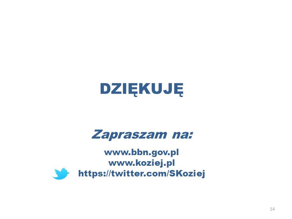 DZIĘKUJĘ Zapraszam na: www.bbn.gov.pl www.koziej.pl https://twitter.com/SKoziej 14