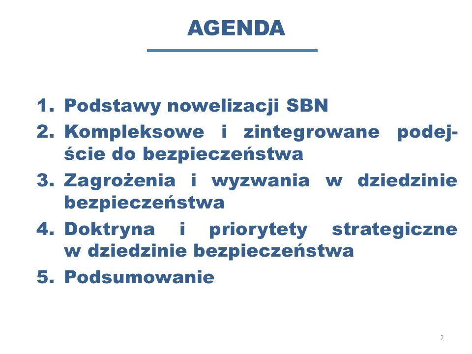 AGENDA 1.Podstawy nowelizacji SBN 2.Kompleksowe i zintegrowane podej- ście do bezpieczeństwa 3.Zagrożenia i wyzwania w dziedzinie bezpieczeństwa 4.Dok