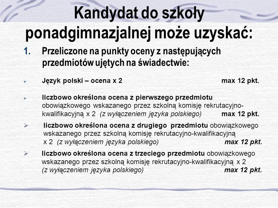 Kandydat do szkoły ponadgimnazjalnej może uzyskać: 1. Przeliczone na punkty oceny z następujących przedmiotów ujętych na świadectwie: Język polski – o
