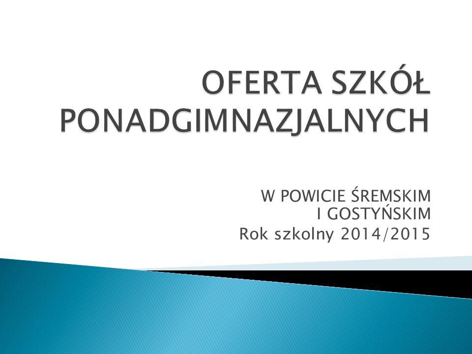 W POWICIE ŚREMSKIM I GOSTYŃSKIM Rok szkolny 2014/2015