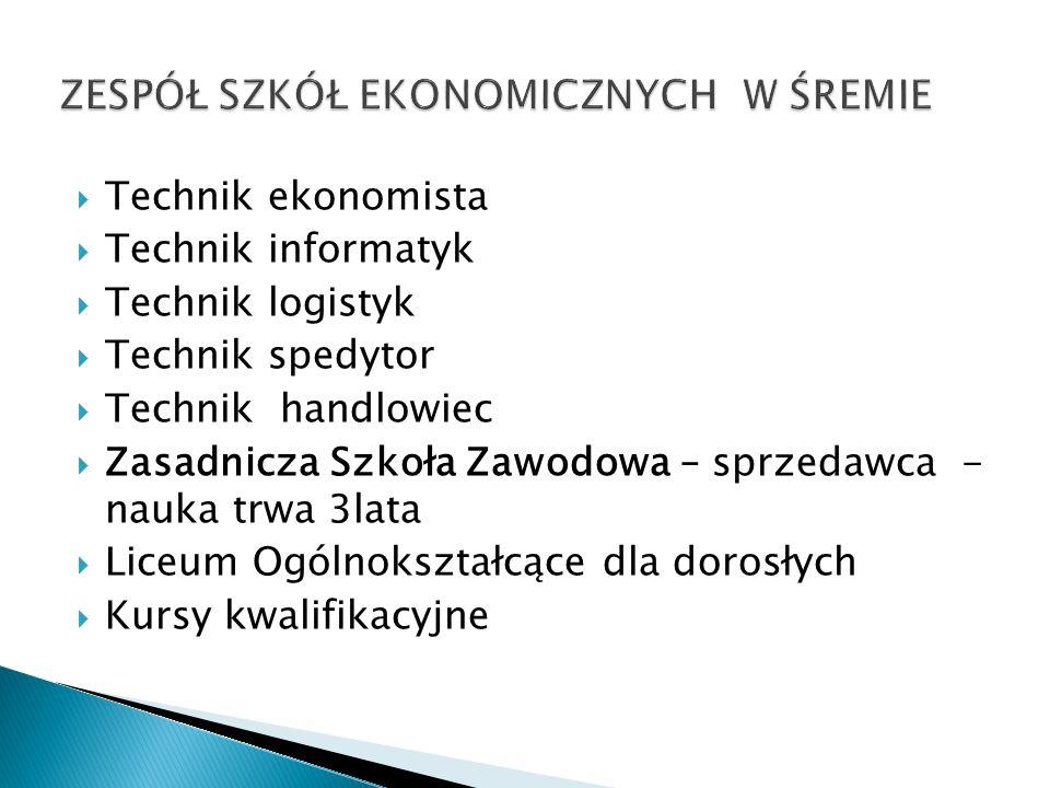 Technik ekonomista Technik informatyk Technik logistyk Technik spedytor Technik handlowiec Zasadnicza Szkoła Zawodowa – sprzedawca - nauka trwa 3lata