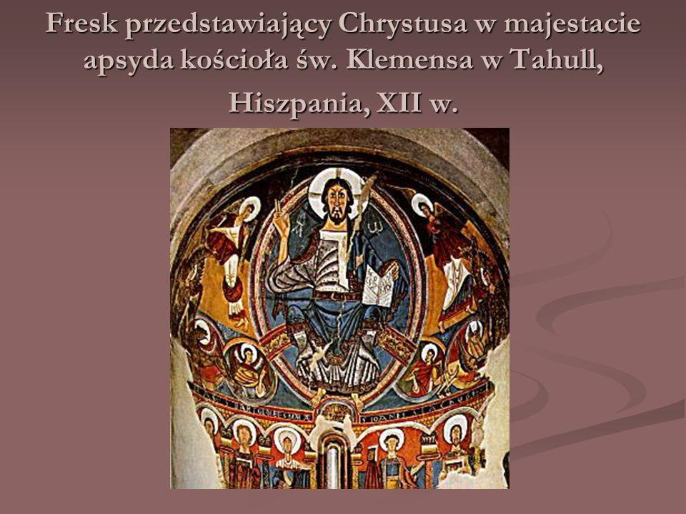 Fresk przedstawiający Chrystusa w majestacie apsyda kościoła św. Klemensa w Tahull, Hiszpania, XII w.