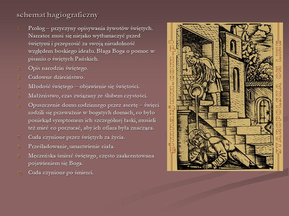 schemat hagiograficzny 1. Prolog – przyczyny opisywania żywotów świętych. Narrator musi się niejako wytłumaczyć przed świętymi i przeprosić za swoją n