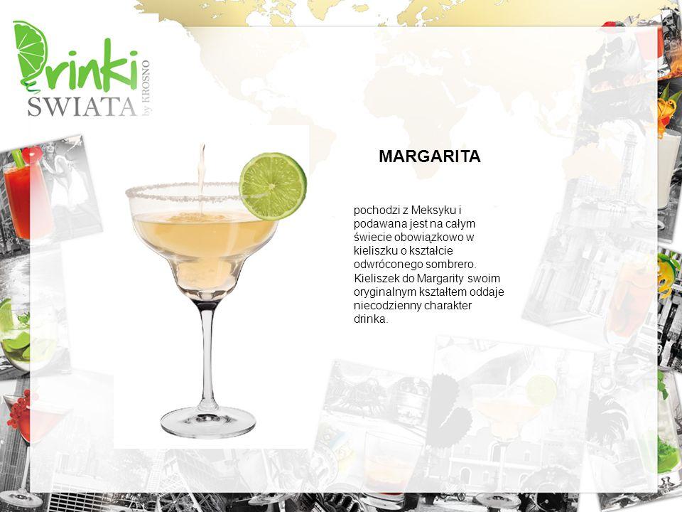 MARGARITA pochodzi z Meksyku i podawana jest na całym świecie obowiązkowo w kieliszku o kształcie odwróconego sombrero. Kieliszek do Margarity swoim o