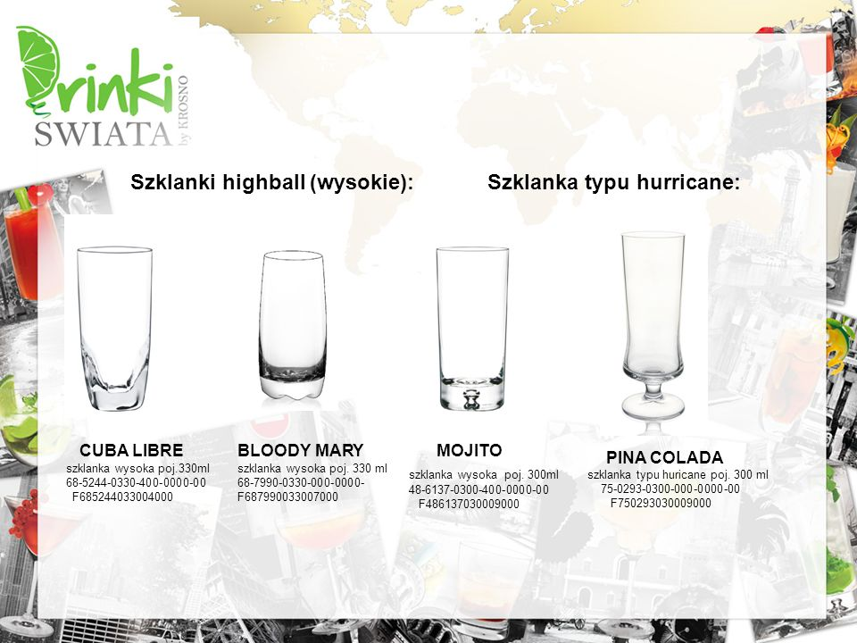 Szklanki highball (wysokie): CUBA LIBRE szklanka wysoka poj.330ml 68-5244-0330-400-0000-00 F685244033004000 BLOODY MARY szklanka wysoka poj. 330 ml 68