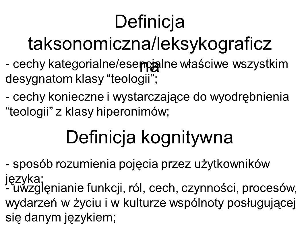 Definicja taksonomiczna/leksykograficz na Definicja kognitywna - cechy kategorialne/esencjalne właściwe wszystkim desygnatom klasy teologii; - cechy k