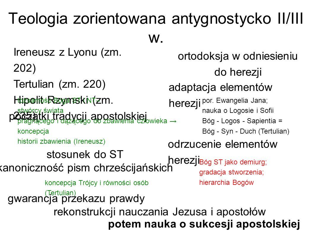 Teologia zorientowana antygnostycko II/III w. Ireneusz z Lyonu (zm. 202) Tertulian (zm. 220) Hipolit Rzymski (zm. 235) por. Ewangelia Jana; nauka o Lo