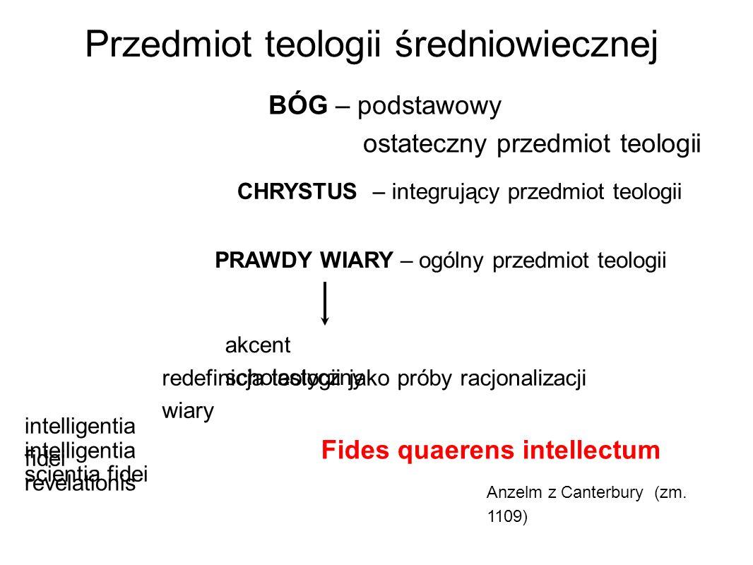 Przedmiot teologii średniowiecznej BÓG – podstawowy ostateczny przedmiot teologii akcent scholastyczny CHRYSTUS – integrujący przedmiot teologii PRAWD