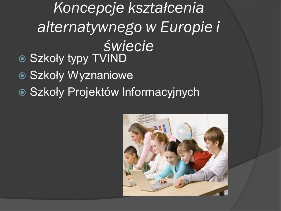 Koncepcje kształcenia alternatywnego w Europie i świecie Szkoły typy TVIND Szkoły Wyznaniowe Szkoły Projektów Informacyjnych